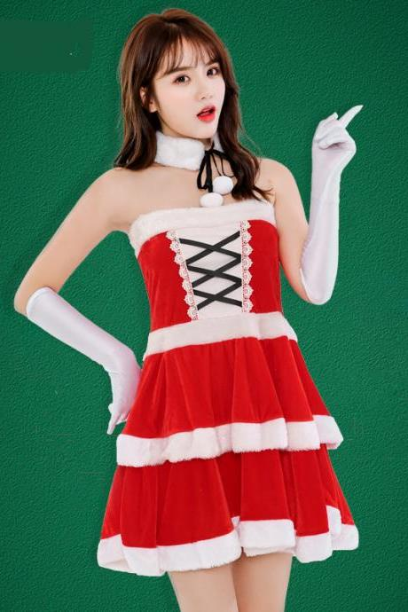 Cute Red Patchwork Strapless Christmas Costume