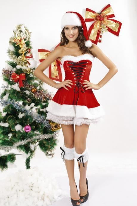 Sexy 3 Piece Red Velvet Christmas Corset Set 7173