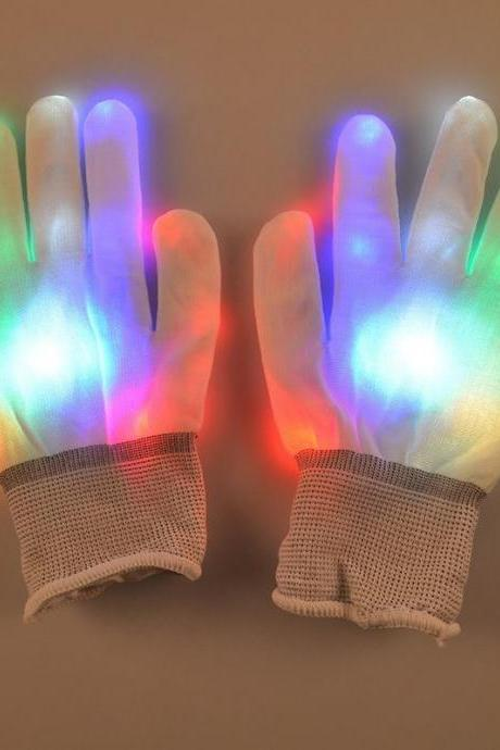 Free Shipping 1 Pair LED Gloves Finger Lights Toys Flashing Gloves Glow Up Finger Lighting Gloves For Party