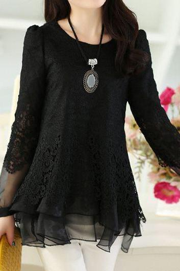 Fashion Black Long Sleeve Lace Panel Layered Blouse