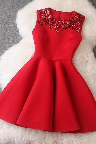 High Quality Red Sequined Sleeveless Dress For Autumn&Winter
