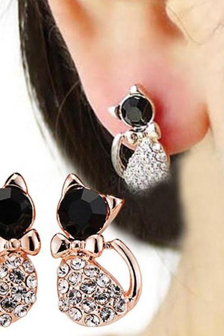 New 1 Pair Women Earring Elegant Cat Shape Crystal Rhinestone Ear Stud Earrings