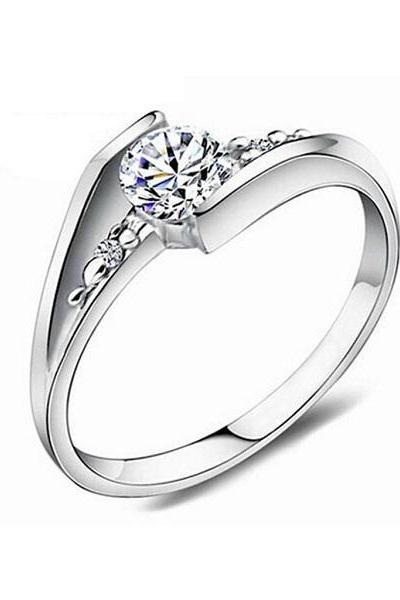 Fashion Women's 925 Stering Silver Jewelry Finger Ring Crystal Inlay Engagement Wedding Ring