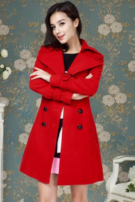 Designer Good Quality Red Double Breasted Wool Coat With Belt