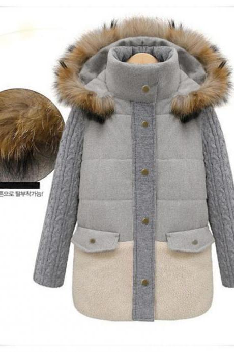 Women Light Grey Hooded Woolen Coat 8170