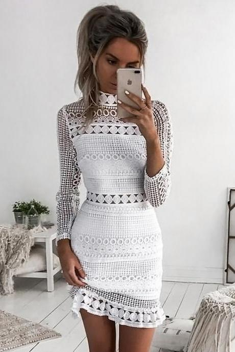 White Lace Stitching Dress