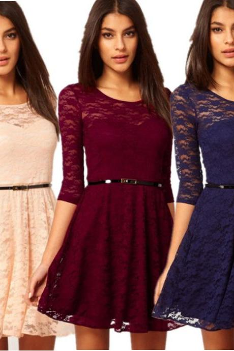 Free Shipping Mid-Sleeve Lace Stitching Dress With Belt (5 Colors)