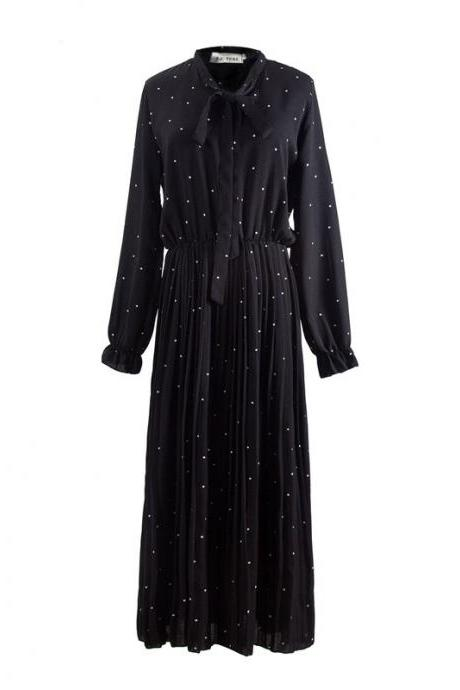 Black Self-Tie Ribbon Polka Dot Pleated Chiffon Maxi Dress