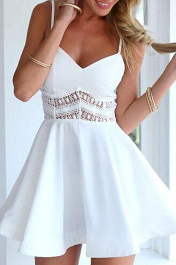 White Solid Pierced Hollow Back Flare Dress