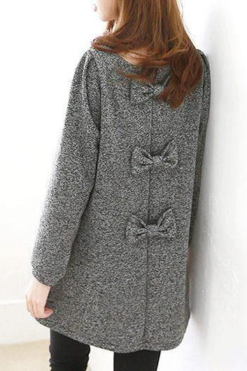 Fashion Round Neck Bowknot Design Long Sleeve Grey Dress