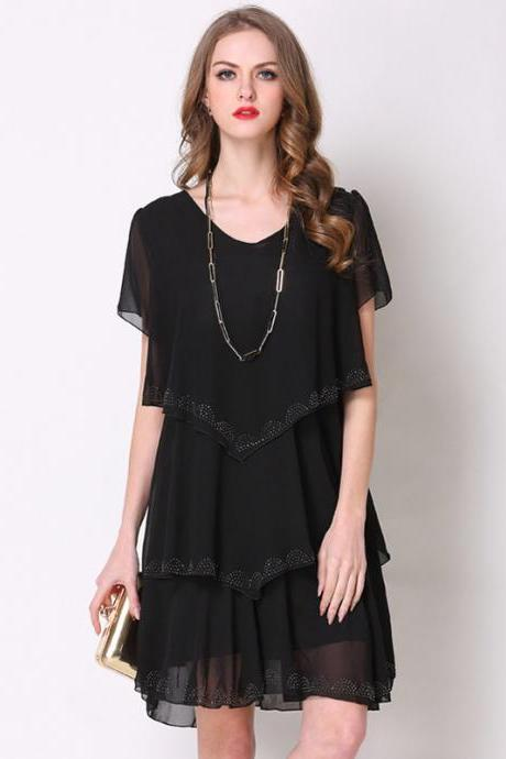 Fashion Short Sleeve Tiered Chiffon Dress - Black