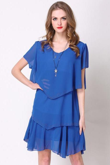 Fashion Short Sleeve Tiered Chiffon Dress - Blue