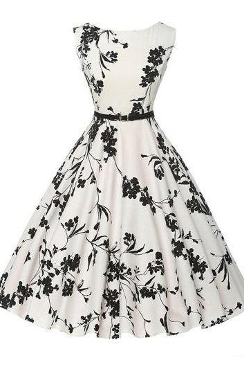 Elegant Sleeveless Round Neck Flower Print White Dress