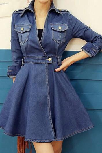 Fashion Turndown Collar Blue High Waist Mini Dress
