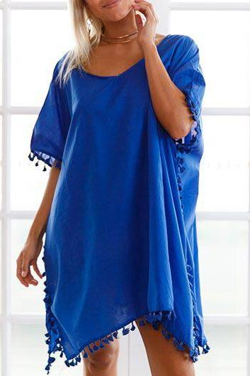 Sexy V Neck Short Sleeve Asymmetric Hem Cover Up - Blue
