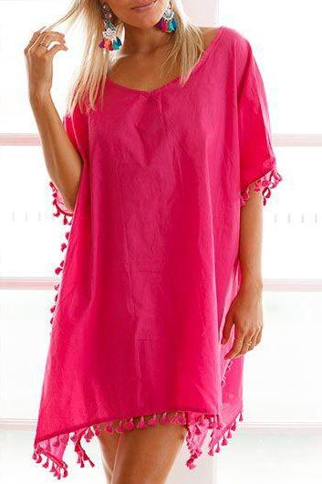 Sexy V Neck Short Sleeve Asymmetric Hem Cover Up - Rose