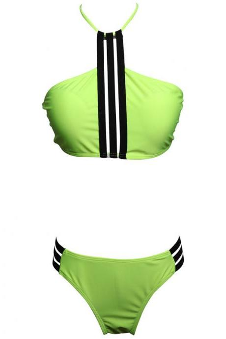 Fashion Women's Halter Padding Bikini Set - Green