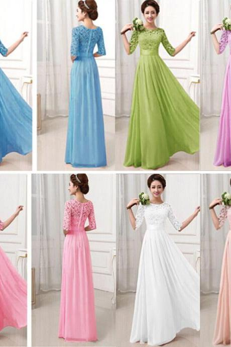Beautiful Pierced Sleeve Lace Zipper Closure Maxi Dress (6 Colors)