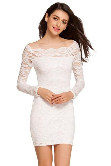 Sexy Off the Shoulder Long Sleeve Fitted Lace Dress