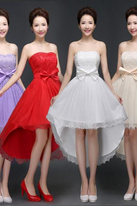 Hot Sale New Strapless Bow Evening Party Prom Bridesmaid Wedding Dress 4 Colors