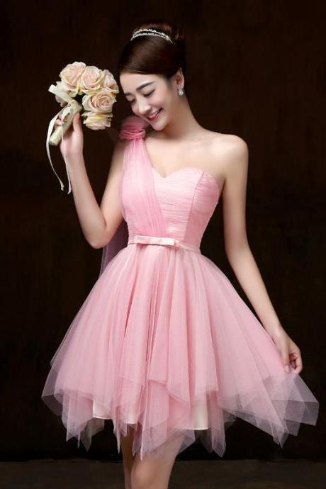 One shoulder bridesmaid dress short dresses for wedding guests sister party formal dress prom dresses