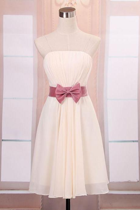New Women's Strapless Mini Evening Party Prom Bridesmaid Wedding Dress