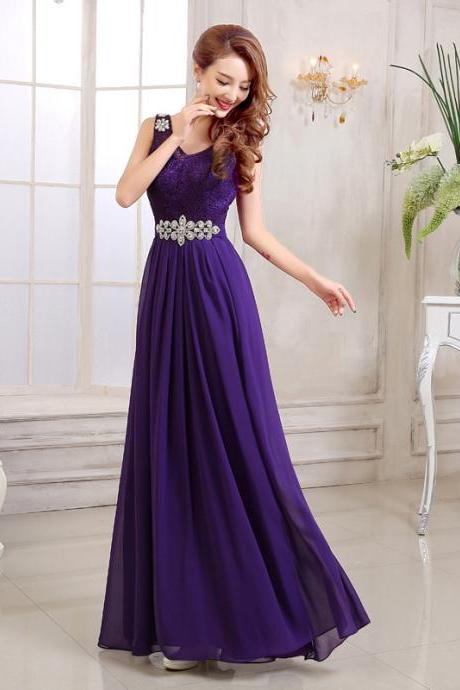 Chiffon Long Evening Dress,Beaded Prom Dress,Formal Dress