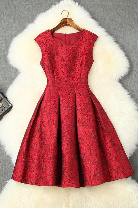 Red Elegant Round Neck Sleeveless Jacquard Dress