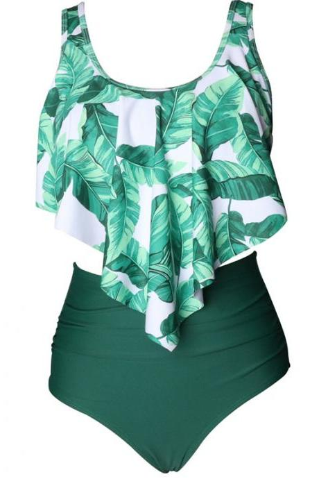 New Swimsuit print floral swimwear high waist swiming suits - Green