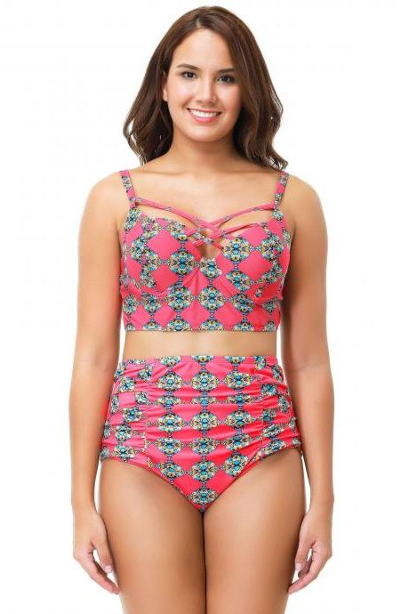New High Waist Big Size Print Swimsuit
