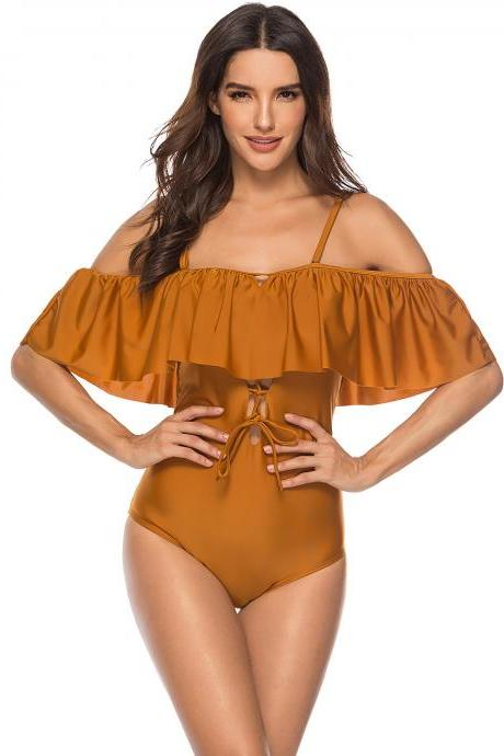 Strappy Off Shoulder Ruffle Solid One Piece Swimwear - Brown