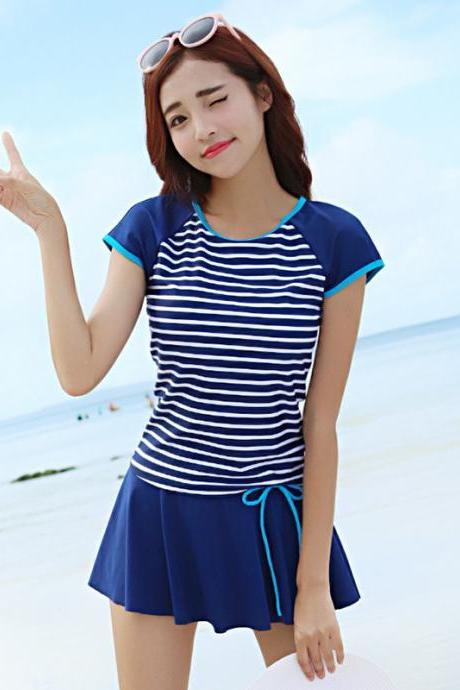 Sweet Stripe Short Sleeve Swimwear Beachwear - Navy Blue