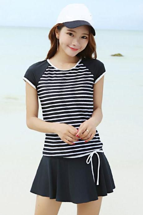 Sweet Stripe Short Sleeve Swimwear Beachwear - Black