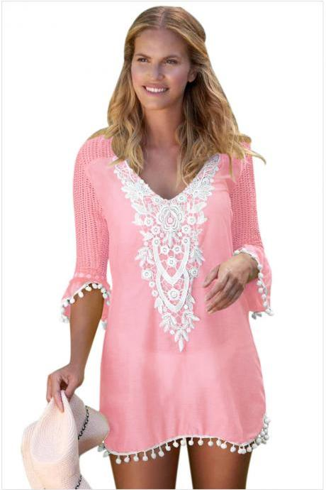 Fashion V Neck Beach Cover Up - Pink