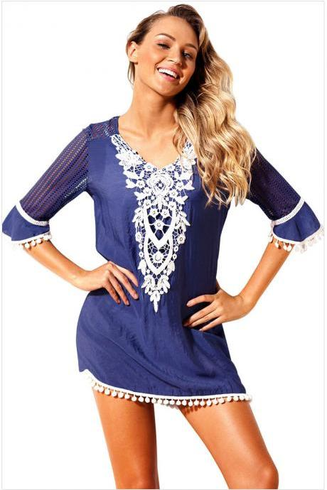 Fashion V Neck Beach Cover Up - Dark Blue