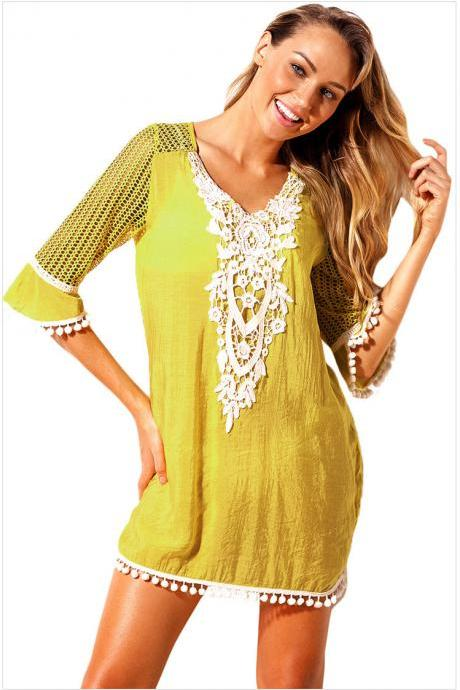 Fashion V Neck Beach Cover Up - Yellow