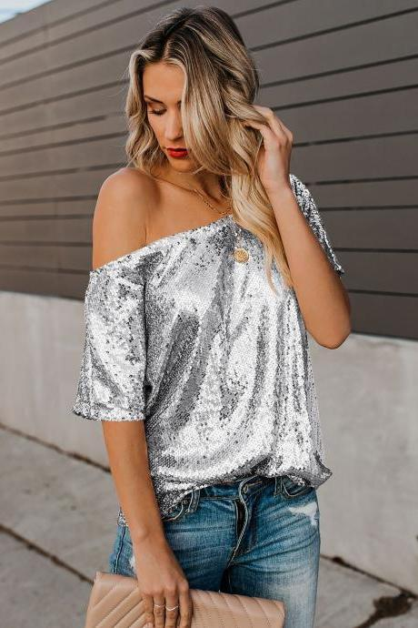 High Quality Seductive Off-shoulder Glistening Sequin Top - Silver
