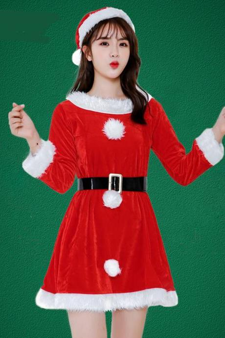 New Cute Red Long Sleeve Christmas Costume