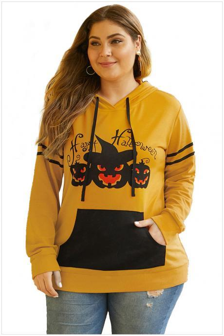 Plus Size Pumpkin Pattern Long Sleeve Pocket Halloween Hooded Shirt