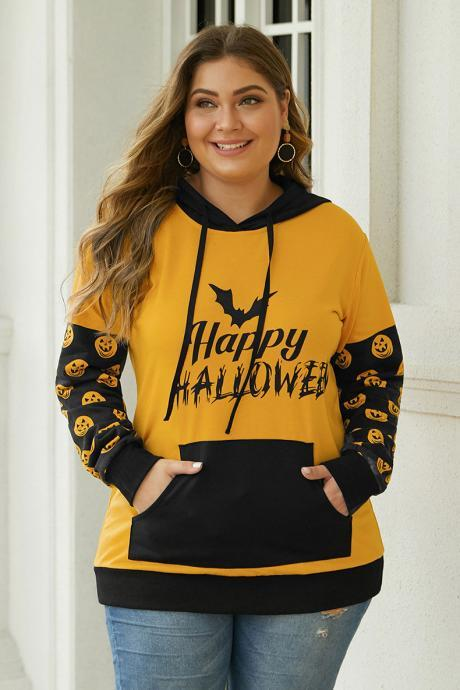Plus Size Patchwork Long Sleeve Pocket Halloween Hooded Shirt