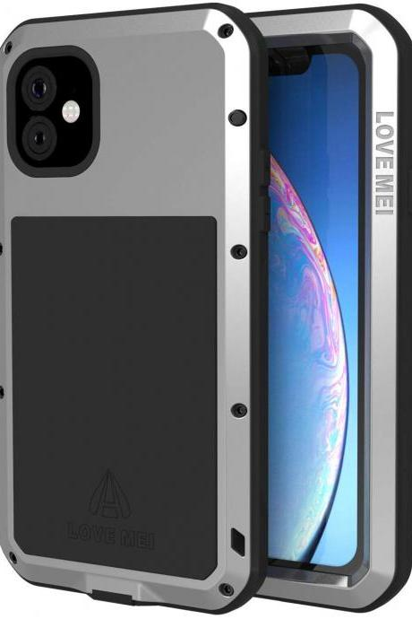 High Quality Compatible with iPhone 11 Case, Metal iPhone 11 Cover with Screen Protector for iPhone 11 6.1 Inch for Outdoors Working (Silver)
