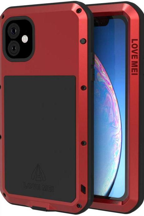 High Quality Compatible with iPhone 11 Case, Metal iPhone 11 Cover with Screen Protector for iPhone 11 6.1 Inch for Outdoors Working (Red)