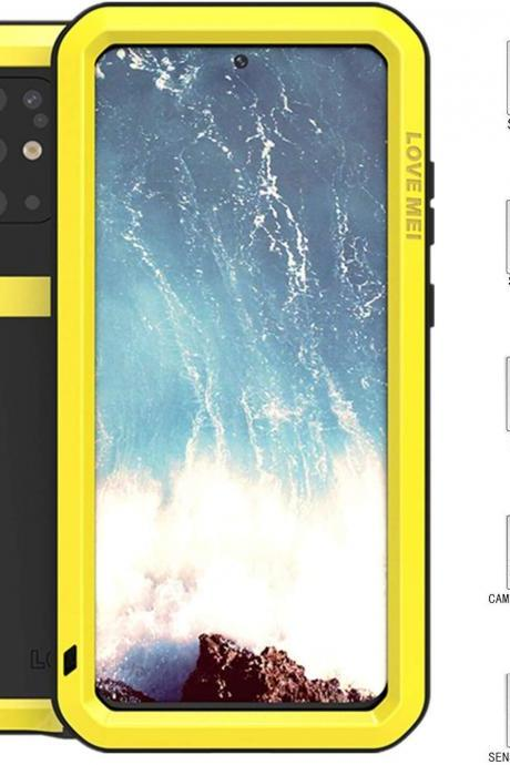 High Quality Aluminum Aluminum Metal Gorilla Glass Waterproof Shockproof Military Heavy Duty Sturdy Protector Cover Hard Case for Samsung Galaxy S20 Plus (Yellow, S20 Plus)