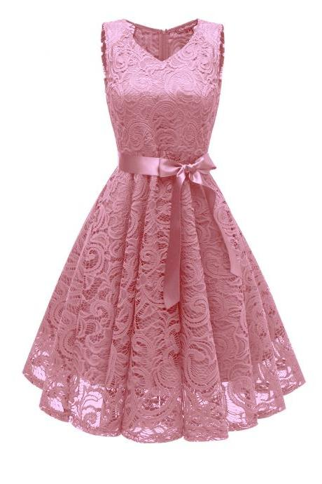 Pink Hollow Out Flower With Lace Skirt