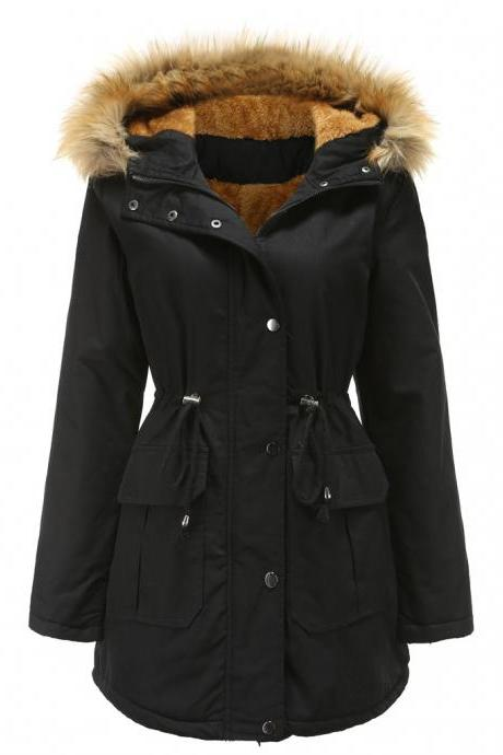 High Quality Faux Fur Collar Long Winter Coat - Black