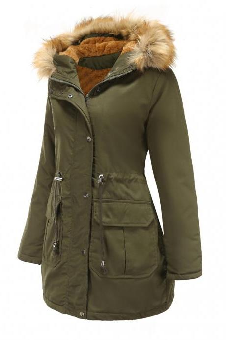 High Quality Faux Fur Collar Long Winter Coat - Green