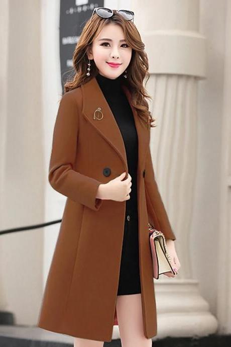 High Quality Women's Fall Single Breasted One-button Coat Long Solid Colored Going out Streetwear - Khaki