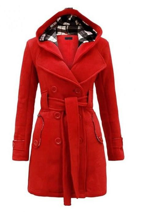 High Quality Women's Winter Trench Coat Long Solid Colored Daily Wear Chic & Modern Plus Size - Red