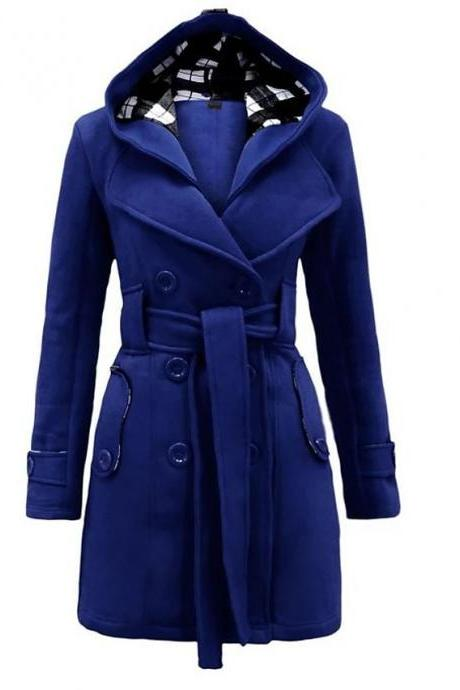 High Quality Women's Winter Trench Coat Long Solid Colored Daily Wear Chic & Modern Plus Size - Blue