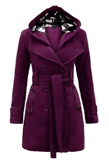 High Quality Women's Winter Trench Coat Long Solid Colored Daily Wear Chic & Modern Plus Size - Purple